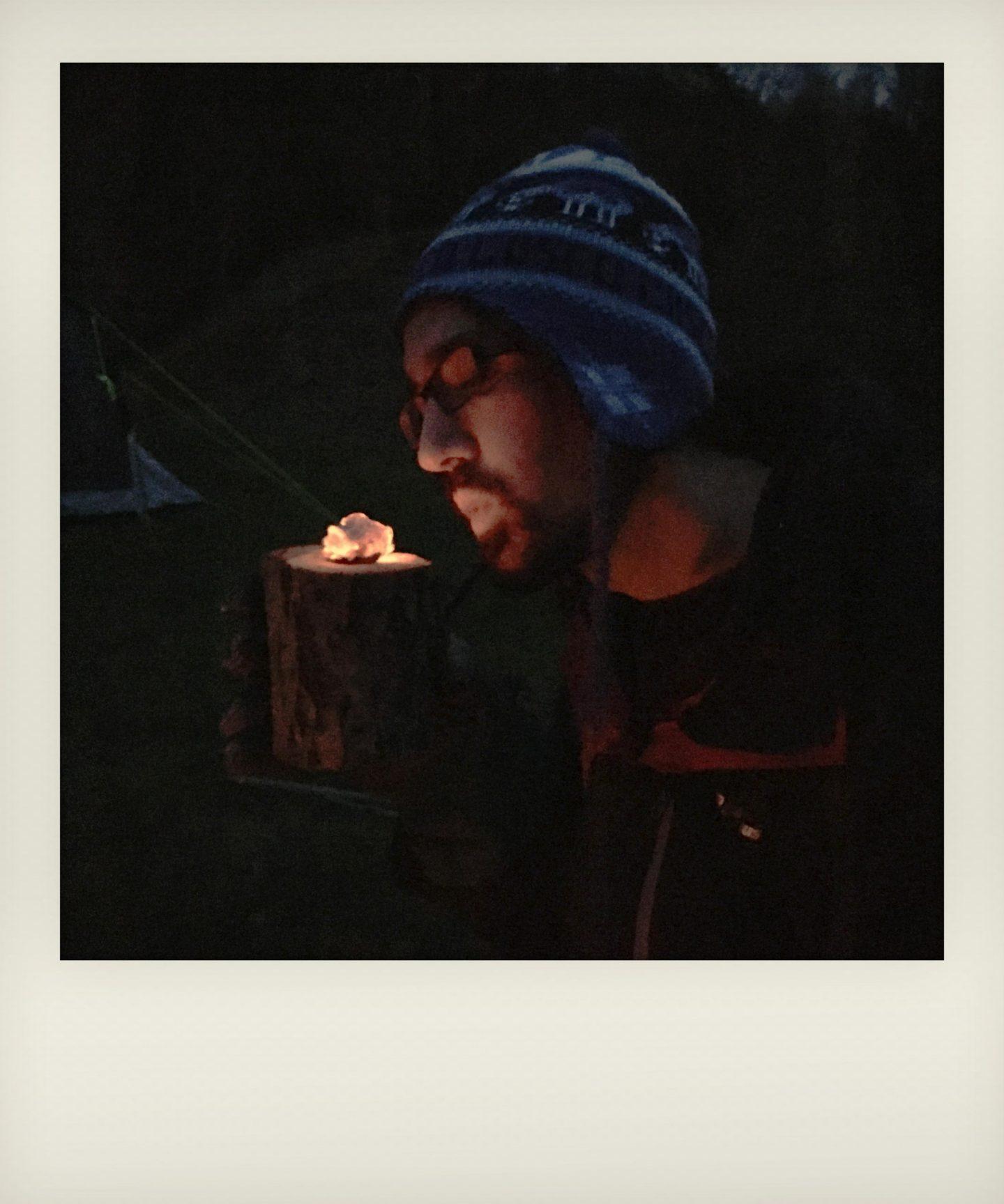 Hot coal glowing