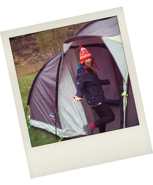 Helen showing off her 8 man tent