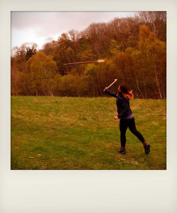 Helen throwing her handmade Viking spear