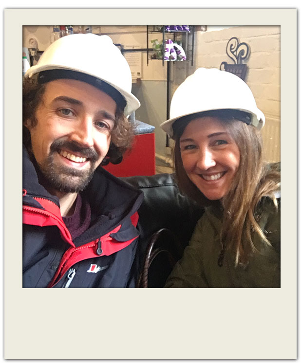 Helmets on ready to explore Williamson Tunnels