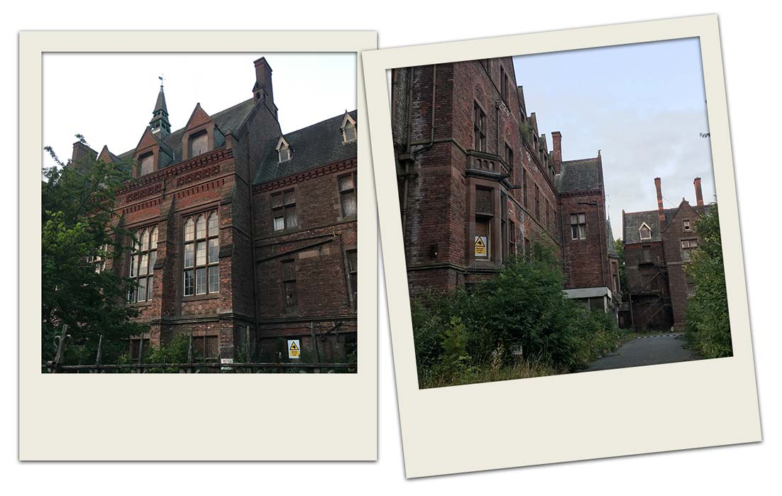 Waiting for the ghost hunt to start outside the derelict building of Newsham Park Hospital