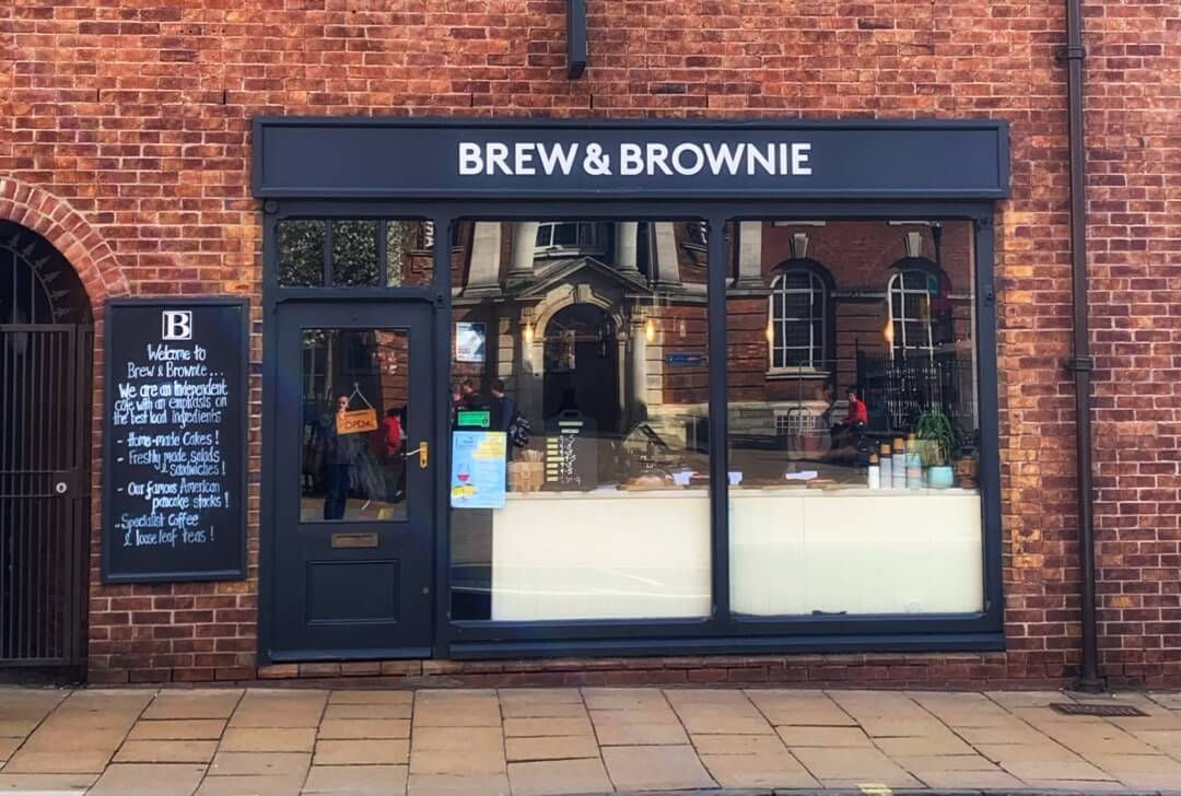 outside the Brew and Brownie Cafe, York