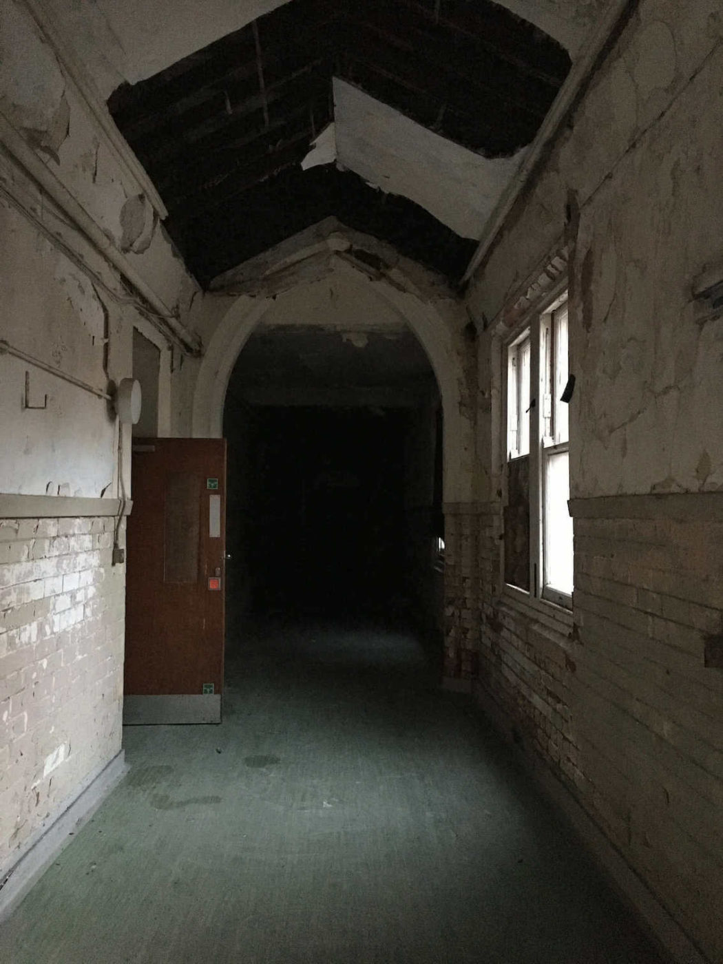 Abandoned corridor in haunted Newsham Hospital