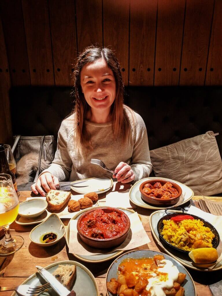 Helen with lots of tapas!