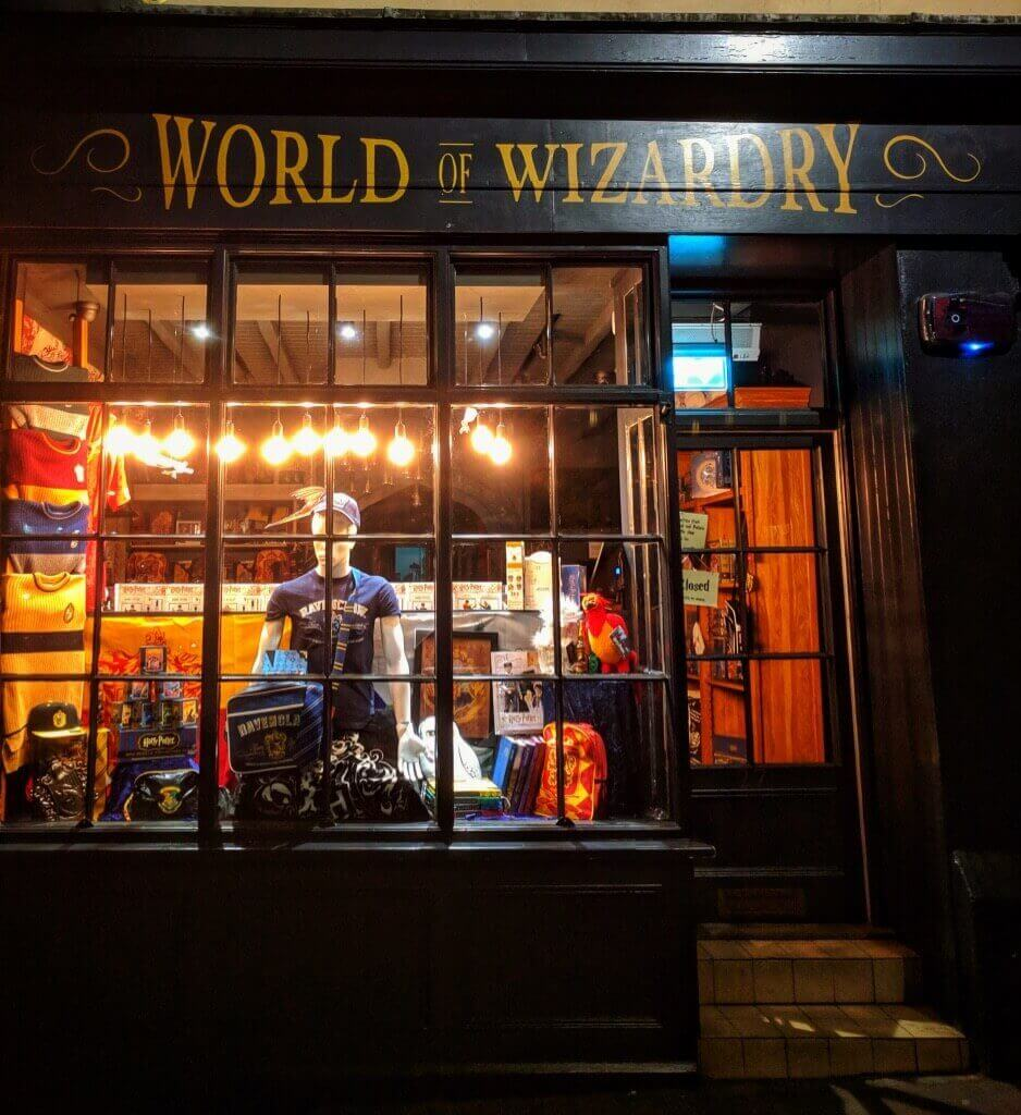 outside the World of Wizardry shop on the Shambles in York