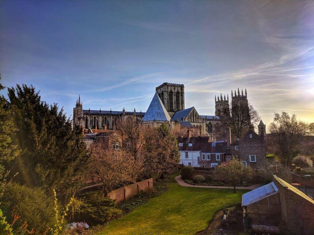 view of York Minster from York walls