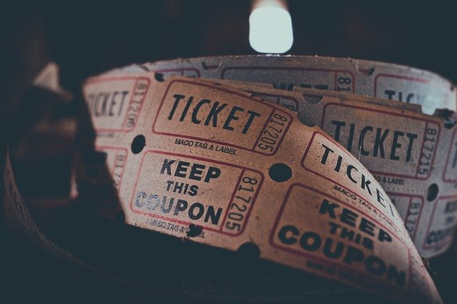reel of old fashioned cimema tickets