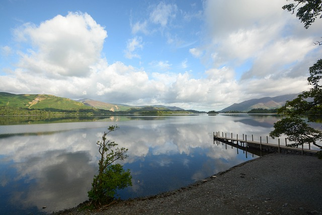 view of derwent water in the lake district on a sunny day