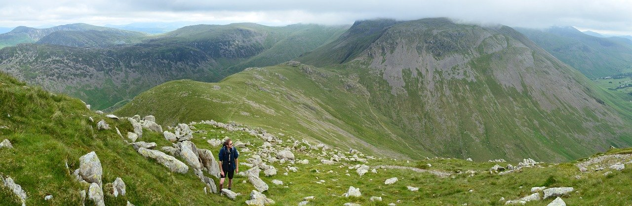 man hiking in the lake district