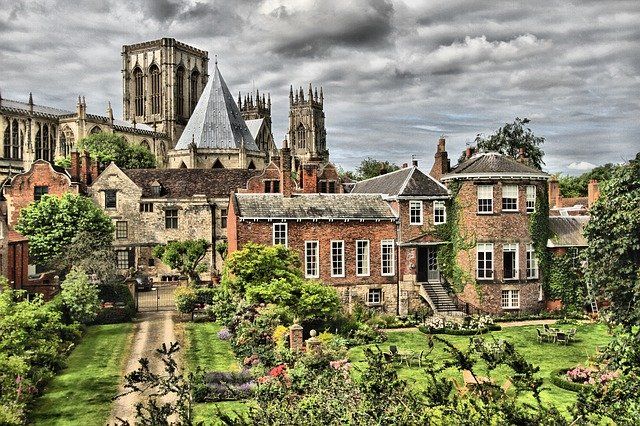 view of york minster over parks and gardens