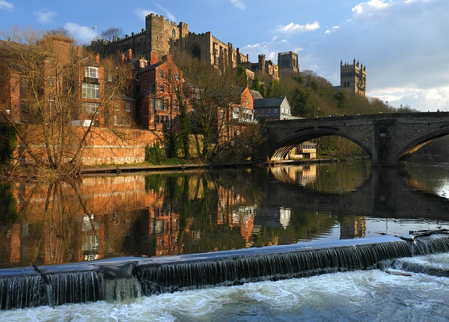 view of Durham cathedral across the river