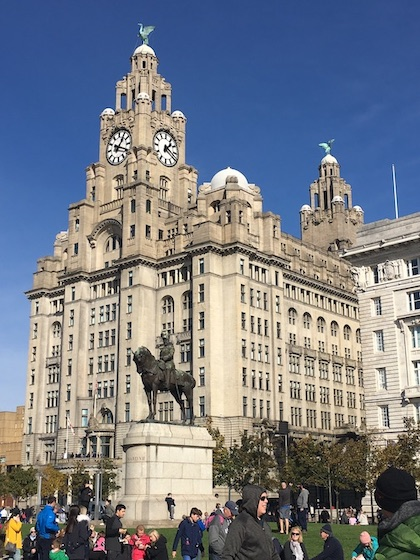 the Liver Building in Liverpool on a sunny day - spotting Liverpool landmarks such as the Liver Birds which can be seen on top of the building is one of the most fun things to do in Liverpool