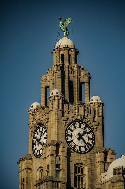 Close up of the Clock Tower on the Liver Building, Liverpool. A Liver Bird can be seen on top of the tower.