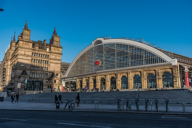 View of the front of Lime Street Station set against blue skies