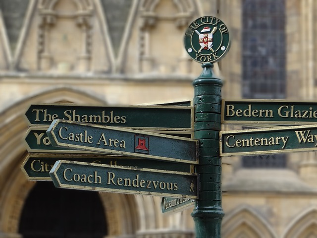 A signpost outside the York Minster