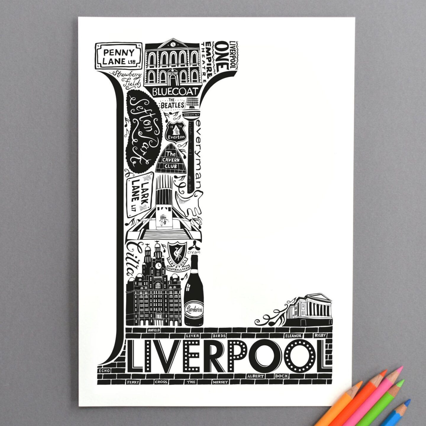 Liverpool art print in black and white. Liverpool landmarks shaped into a large L shape.