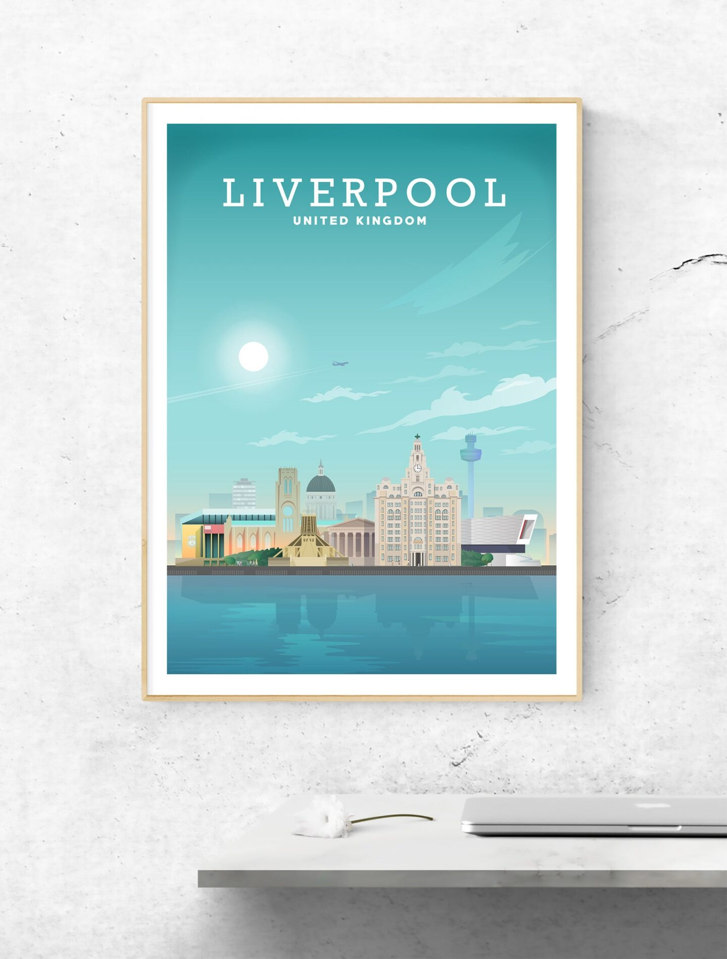 Liverpool art print showing Liverpool skyline against a blue sky and blue river Mersey. Liverpool, United Kingdom is written in white at the top of the print.