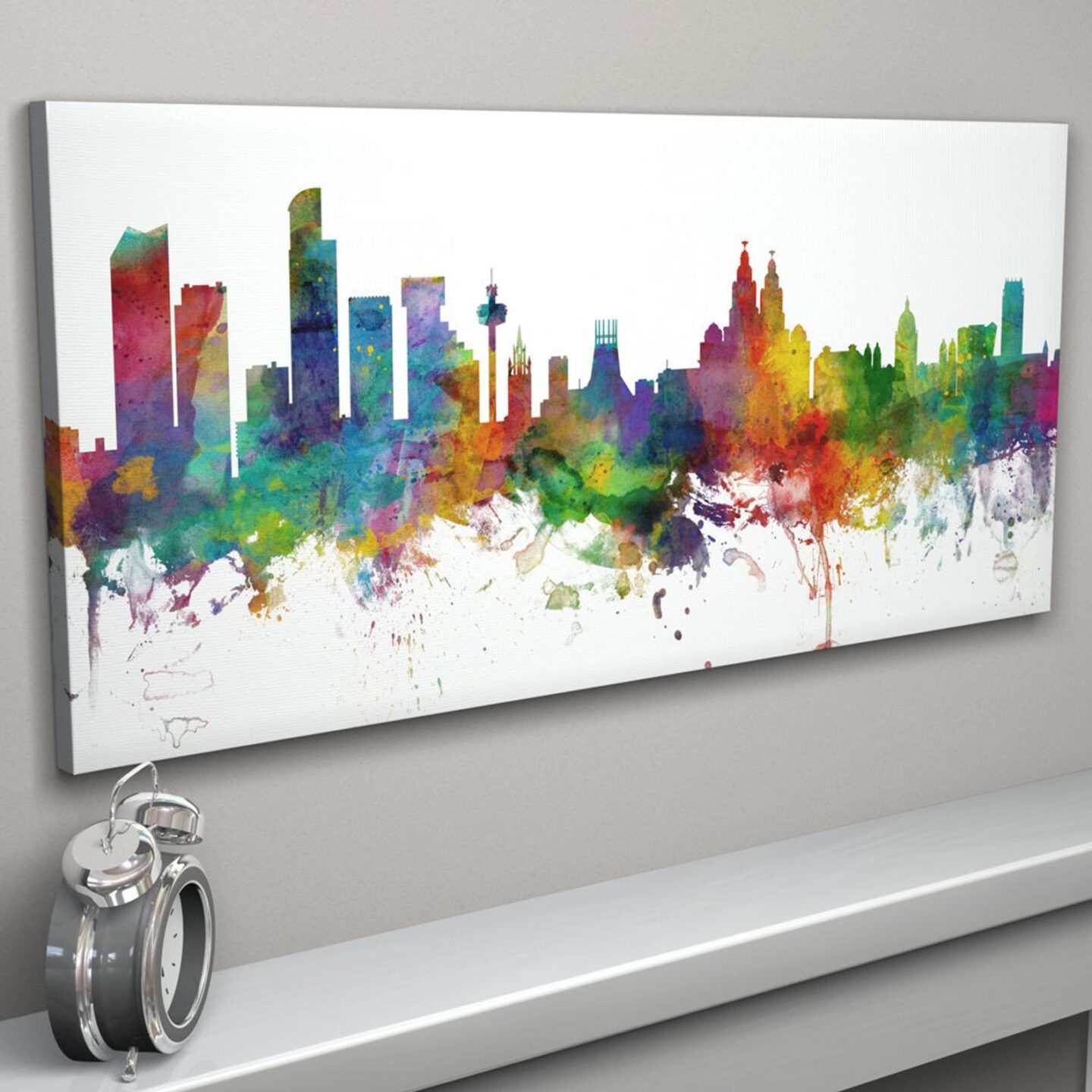 Abstract art colourful print of the Liverpool Skyline.