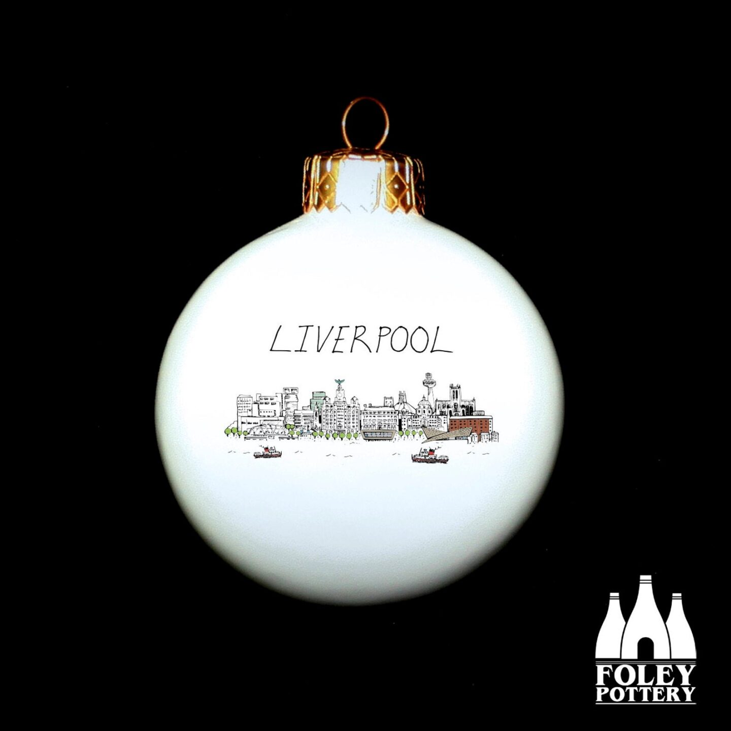 White bauble with a hand drawn image of Liverpool skyline and the word Liverpool written above