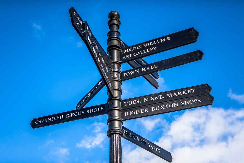 Buxton tourist signpost