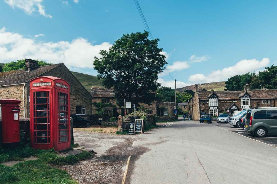 centre of Edale village in the Peak District showing iconic red telephone box