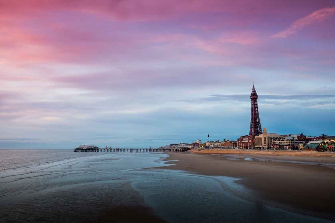The view over Blackpool Beach towards Blackpool Tower