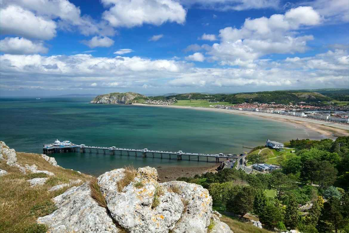 view of Llandudno waterfront from the top of a hill