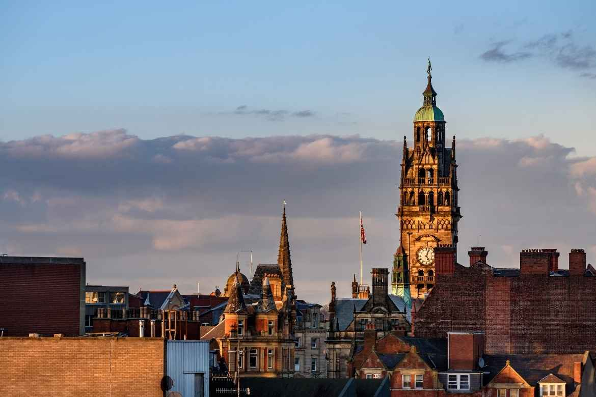 view of the clock tower on Sheffield Town Hall, England